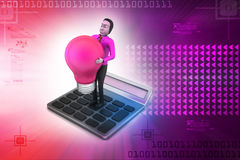 Man with light bulb standing on the calculator Stock Images