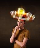 Man with light bulbs circleing around his head Stock Image