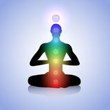 Man with light chakras Royalty Free Stock Image