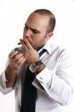 Man light a cigarette Stock Image