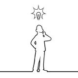 Man with lightbulb. Black line art illustration of a man with a lightbulb above his head Royalty Free Stock Photo