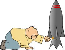 Man lighting a rocket. This illustration depicts a man lighting the fuse of a rocket royalty free illustration
