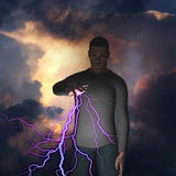 Man with lightning Stock Photo