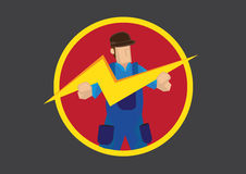 Man with Lightning Symbol Vector Illustration Stock Photo