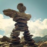 Man like stone pyramid. Trail Sign. Caucasus Mountains vintage e Royalty Free Stock Image