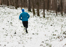 The man likes to run in the winter forest. royalty free stock photos