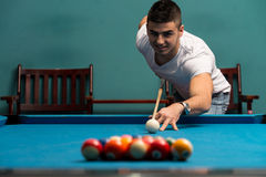 Man Lining Ball Up To Break In Pool Royalty Free Stock Photo