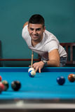 Man Lining Ball Up To Break In Pool Stock Image
