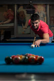 Man Lining Ball Up To Break In Pool Stock Photos