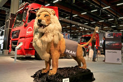 The MAN Lion at the MAN Trucks Stand at Logistics Transport 2015 Royalty Free Stock Photos