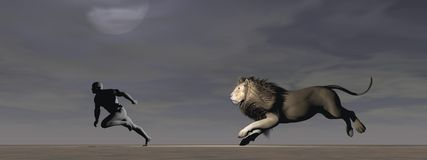A man and a lion Stock Photo