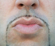 Man lips sending a kiss. Royalty Free Stock Photography