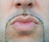 Man lips sending a kiss. Royalty Free Stock Photography