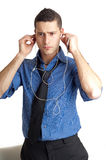 Man listen mp3 player Royalty Free Stock Image