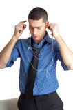 Man listen mp3 player Royalty Free Stock Image