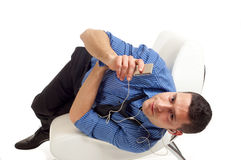 Man listen mp3 player Stock Photography