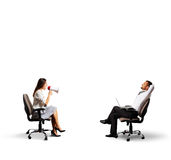 Man listening angry woman Royalty Free Stock Images