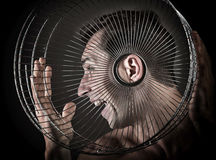Man listening from the birdcage Royalty Free Stock Image