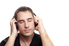 Man listening the music Stock Photos