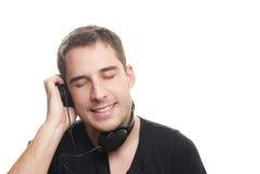 Man listening the music royalty free stock photo