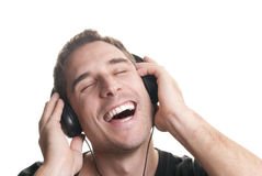 Man listening the music royalty free stock photos