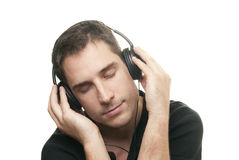 Man listening the music Stock Images