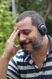 Man listening music stock photos