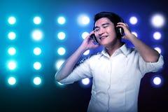 Man listening music with headphone Stock Image