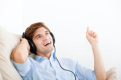 Man listening music Stock Image