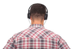 Man listening music  with headphones on Stock Photo