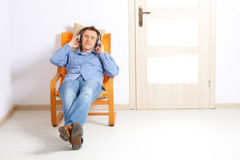 Man listening music with headphones Stock Photography