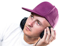 Man listening music Stock Photo
