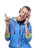 Man listening music with headphones Stock Image