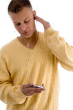 Man listening music through ipod Royalty Free Stock Images