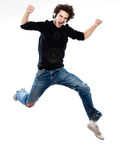 Man listening  music jumping screaming Stock Photo