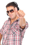 Man listening music and making ok sign Royalty Free Stock Photos
