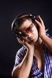 Man listening music with passion Royalty Free Stock Images