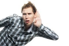 Man Listening Over White Royalty Free Stock Photo