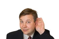 Man in listening pose Royalty Free Stock Photography