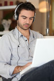 Man listening to his music Stock Photography