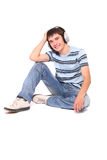 Man is listening to the music stock photo