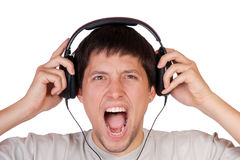 Man is listening to the music Royalty Free Stock Photos