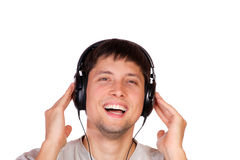 Man is listening to the music Stock Photography