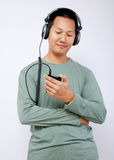 Man listening to the music Stock Photography