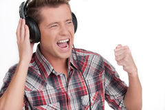 Man listening to the music. Royalty Free Stock Images