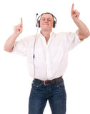 Man listening to music on headphone Royalty Free Stock Photos