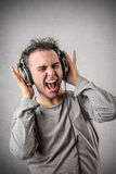 Man listening to the music royalty free stock photography