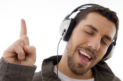 Man listening to music with headphones Royalty Free Stock Photography