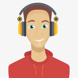 Man listening to music through headphones. Vector illustration in cartoon style. Text on the background Royalty Free Stock Photos