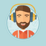 Man listening to music in headphones. Royalty Free Stock Images